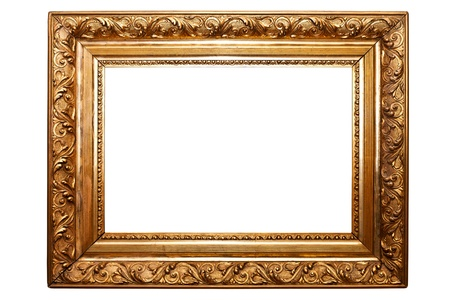 golden old frame isolated on white  clipping paths included