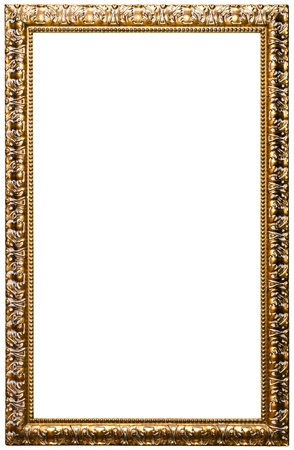 Picture frame, golden color, isolated on white (clipping paths included) photo