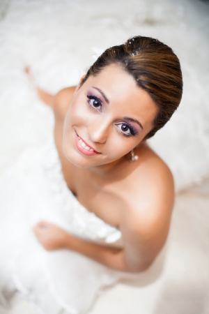 Happy Bride, upper view portrait photo