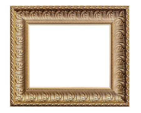 Golden Old Frame, Isolated on White, No 28   clipping paths included  Stock Photo