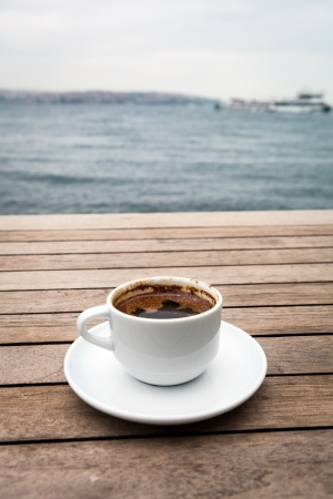 istanbul beach: Delicious Turkish Coffee served  in traditional cup Stock Photo