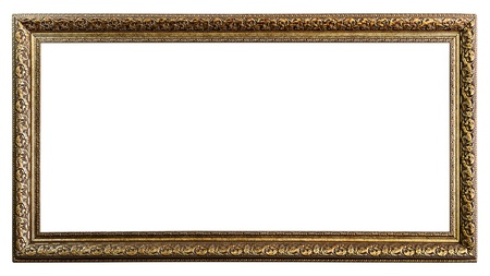 Golden Old Frame, Isolated on White, No 27   clipping paths included  photo