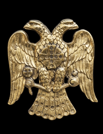double headed eagle: Double Headed Eagle,  common symbol in heraldry and vexillology  It is most commonly associated with the Byzantine Empire, the Holy Roman Empire, the Russian Empire and their successor states  - black background, clipping paths included