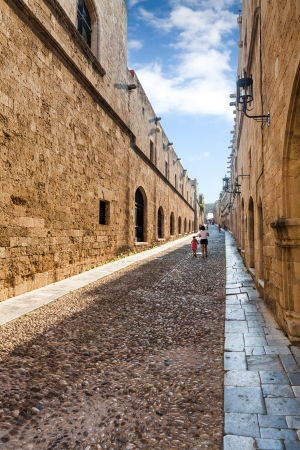 rhodes:  Rhodos island, Greece, Old Medieva town  Street of the Knights  Stock Photo