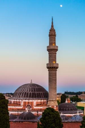Mosque of Suleimaniye at dusk, Rhodes island,  Greece Stock Photo
