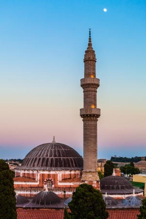 Mosque of Suleimaniye at dusk, Rhodes island,  Greece Stock Photo