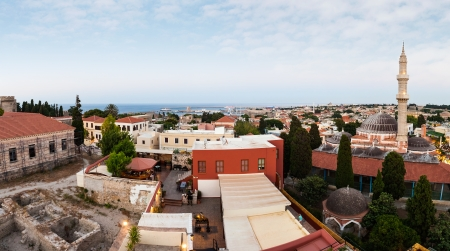 Panoramic View of the City of Rhodes island, Vacation in Greece  High Resolution Panorama   photo