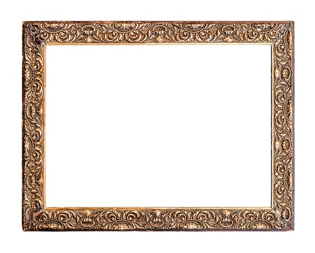 Golden Old Frame, Horizontal, Isolated on White, No 31  - with clipping paths photo