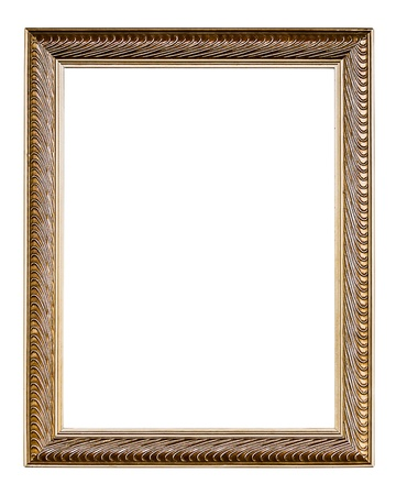Golden Old Frame, vertical, Isolated on White, No 33  - with clipping paths photo