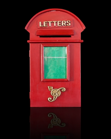 Retro Red Letterbox, isolated on black