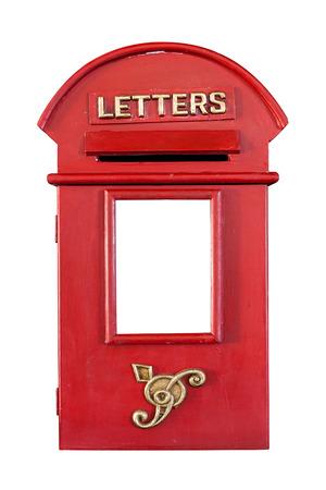 レトロな赤レター ボックス、白で隔離