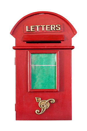 Retro Red Letterbox, isolated on white photo