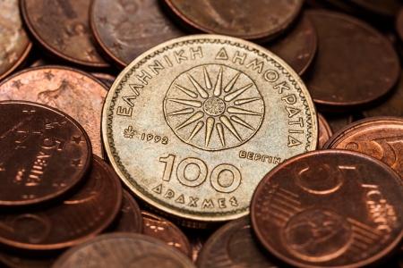 greek coins: One Hundred Drahmas Coin, close up Macro Shot Stock Photo