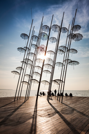 Thessaloniki umbrellas sculpture  placed at the new position, 2014  on a sunny winter day