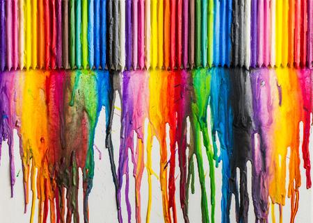 Gesmolten Krijtjes Kleurrijke Abstracte achtergrond geschilderd op doek Stockfoto