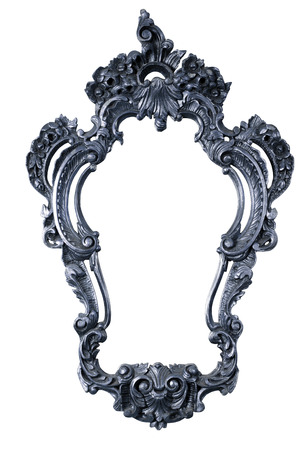 retro metallic color old frame of a mirror, baroque style,  isolated on white   clipping paths included  photo