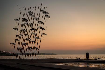 thessaloniki: Umbrellas statue at Sunset in Thessaloniki, Greece Stock Photo