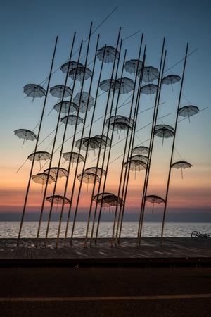 thessaloniki: Umbrellas statue at Colors of Sunset in Thessaloniki, Greece