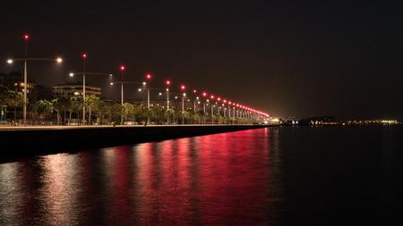 Thessaloniki port at night