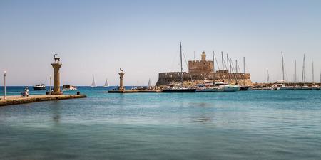 rhodes: Panorama of Mandraki, the Oldest harbor of Rhodes Island, Greece