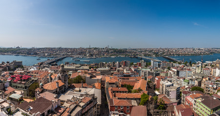 Panorama of Istanbul and Bosphorus... View from famous Galata Tower photo