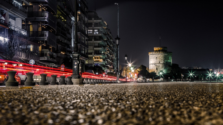 after midnight: White Tower of Thessaloniki, Greece - After Midnight Long Exposure shot Stock Photo