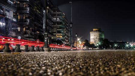 thessaloniki: White Tower of Thessaloniki, Greece - After Midnight Long Exposure shot Stock Photo