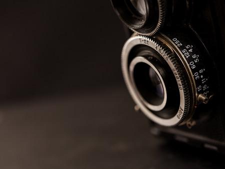 Detail čočku velmi starý fotoaparát Reklamní fotografie