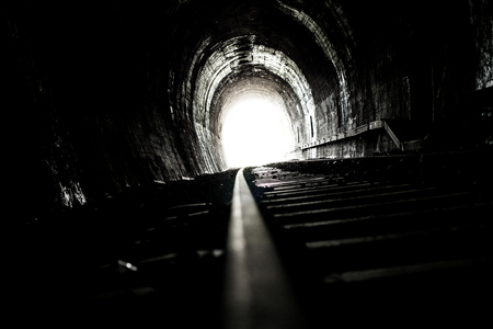 railway transportations: Bright Light and the End of an Old Railway Tunnel, horizontal