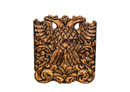 double headed eagle: Double Headed Eagle, common symbol in heraldry and vexillology. It is most commonly associated with Byzantine Empire, Holy Roman Empire, Russian Empire - on white background Stock Photo