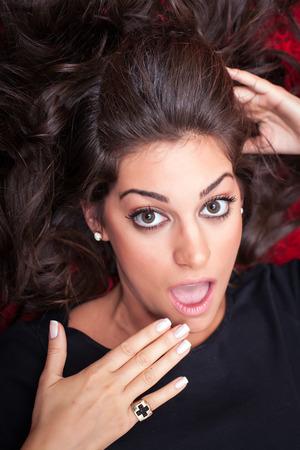 face close up: Beautiful Woman Face, Suprised,  close up