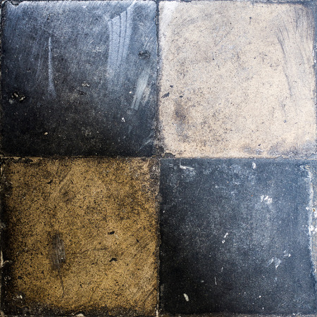 square image: Very Old Retro Floor Tiles, circa 1920, four of them on square image