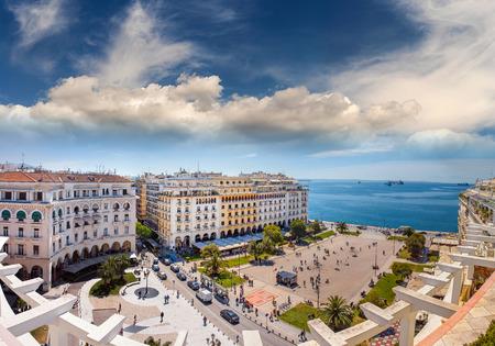 Aristotelous Square Under the Wonderful Blue Sky of Greece, at Thessaloniki city