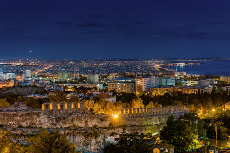 Rare Panoramic View of  Thessaloniki  at Dusk, Long Exposure Shot Stock Photo