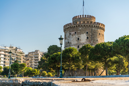 White Tower,  View of Thessaloniki city Center, Greece - Horizontal  Stock Photo