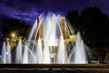 Beautiful Fountain at dusk time, Thessaloniki  Paralia, Greece, Long Exposure Shot