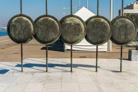 Detail of the Ancient Macedonian Shields, near Great Alexander Statue, Thessaloniki Stock Photo