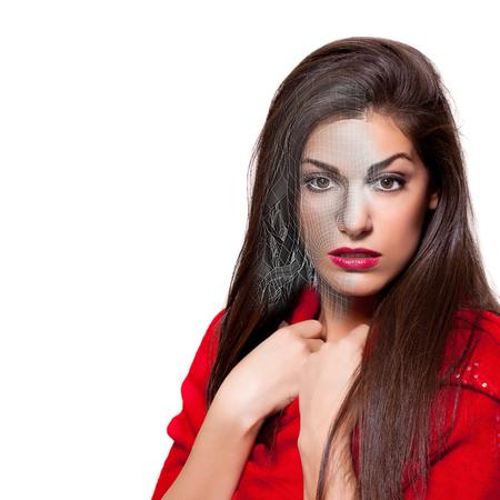 Render realista de hermosa mujer joven 3D con vestido rojo, la era de la realidad virtual Foto de archivo - 81285638