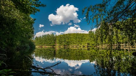 Oreokastro Lake under the beautiful sky of Greece