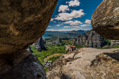 Meteora, a formation of immense monolithic pillars and hills-like huge rounded boulders, Kalambaka, Greece