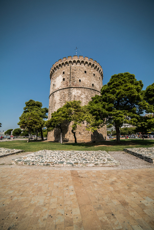 White Tower of Thessaloniki, Greece - Daytime with Wide angle Lens