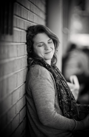 Portrait of Woman feeling Fulfilled and Gratified - Natural Light in Black and White Stock Photo