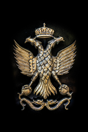 Golden Double Headed Eagle on Black Metal Background, Roman and Byzantine Empire Symbol