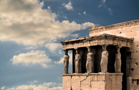 Karyatides, Erehtheio, Acropolis - Athens, Greece, under sunset clouds