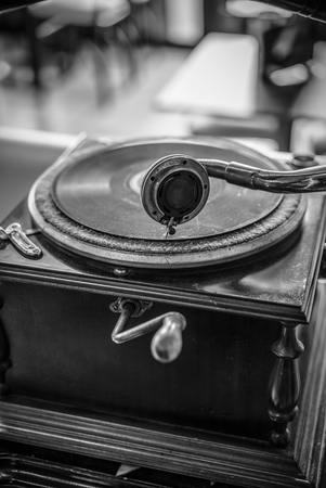Very Old Gramophone, in Black and white