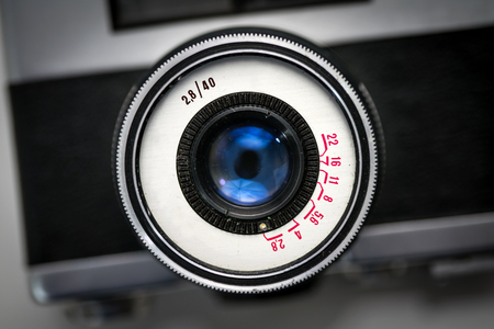 Very Old Film Camera, Focused on the Lens, Upper View Angle Shot