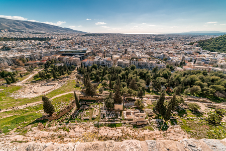Aerial view of Athens city, from Parthenon Acropolis, Greece