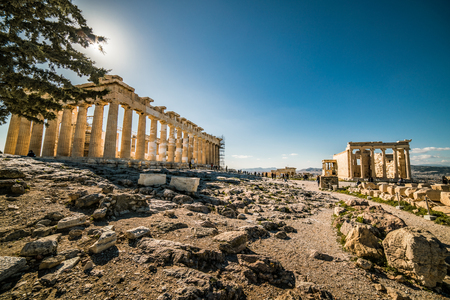 Parthenon Acropolis and Erechtheion with Caryatids temple of Athens Archaeological Place, wide angle shot