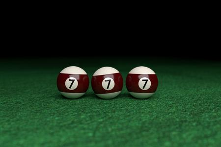 Win, Number Seven, Three Billiard Balls on a raw, over Green Felt, 3d Rendering Archivio Fotografico - 101102943