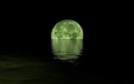 Full Moon Rising Over Calm Sea, green tones Stock Photo